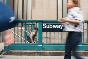 subway; distracting advertising; negligence; personal injury; wacky law suit