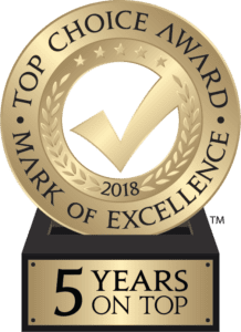 2017 Top Choice Award Mark of Excellence - 4 Years on Top