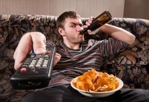 cable channel, tv, television, remote, couch, male, sue, drinking, beer, chips, overweight, freedom, charter, wife, kids, addiction