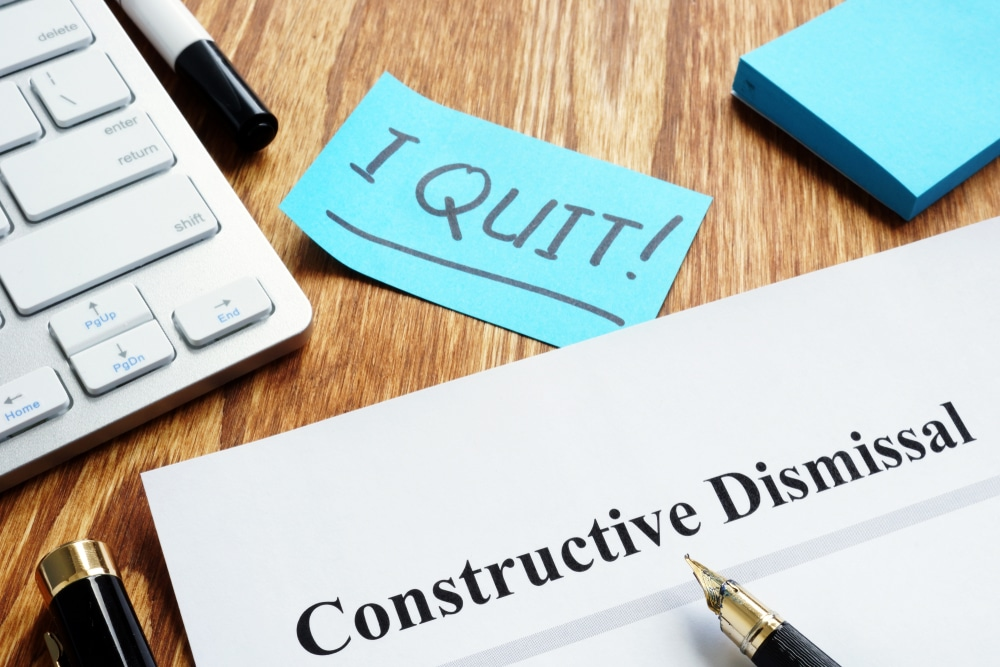 constructive dismissal, fired, change, material, significant, unilaterally, compensation, work, environment, demotion, position, salary, schedule, hours, duties, mitigate, wrongful, dismissal, new job, temporary, damages, compensation, termination